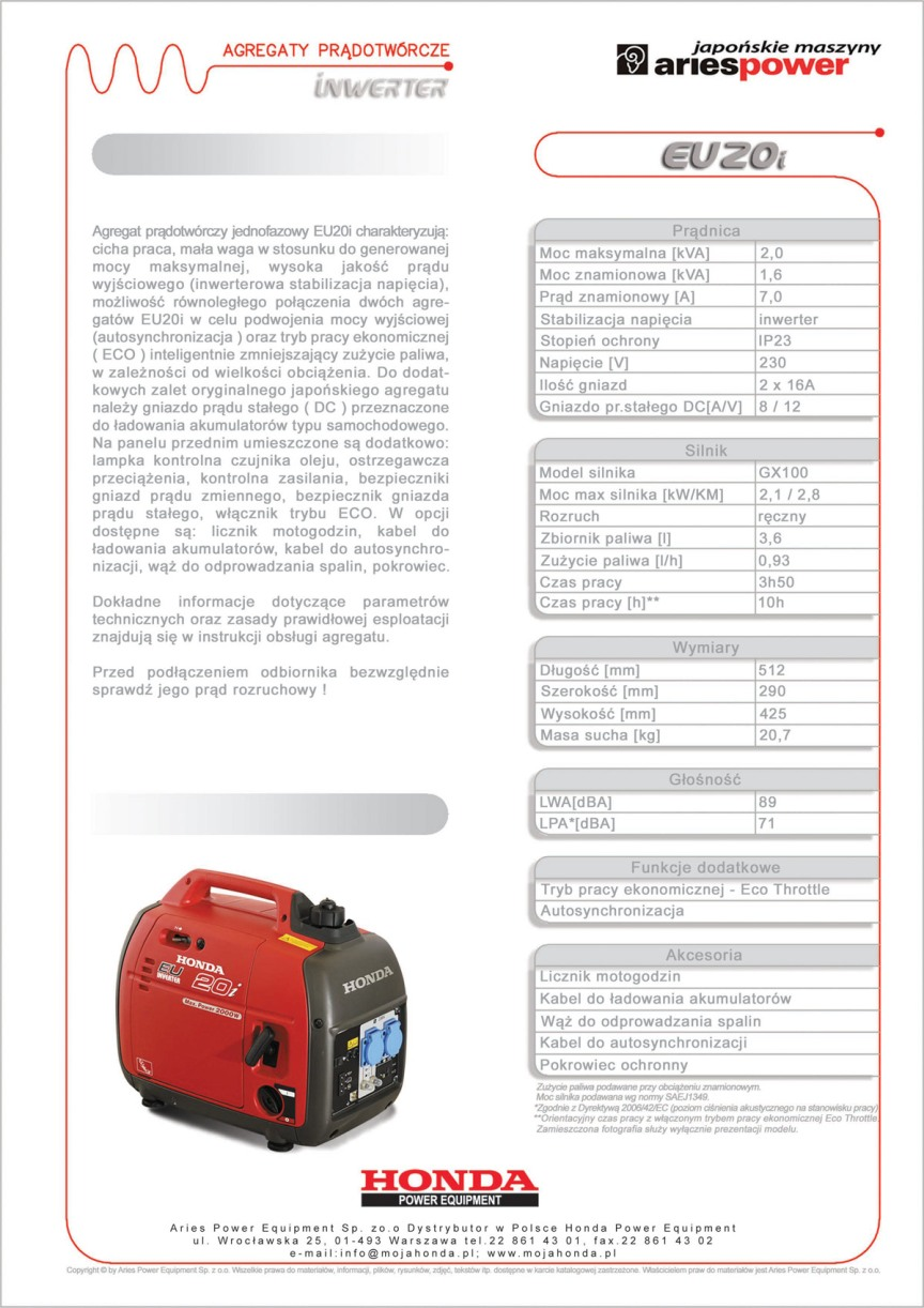 EU20i agregat prądotwórczy Honda karta katalogowa Lopeno.pl